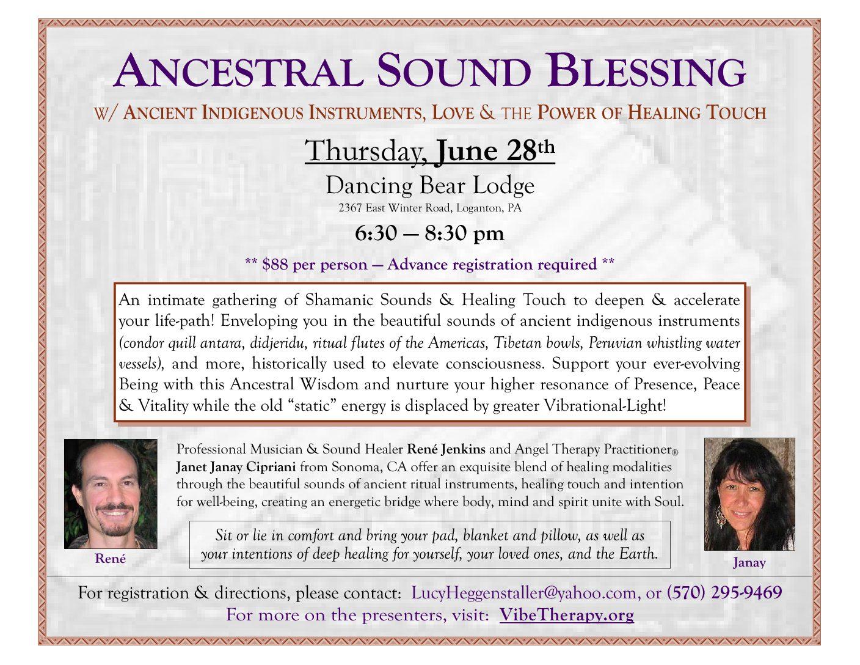 Ancestral Sound Blessing in Loganton, PA - Rene Jenkins Music